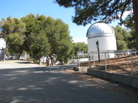 At Mt Wilson observatory; the small dome in the right background is part of the CHARA Interferometric Array.