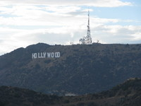 The Hollywood sign as seen from Griffith Observatory.