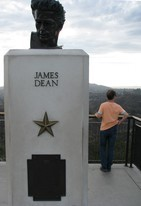 James Dean bust outside Griffith Observatory; apparently, scenes from Rebel without a cause were filmed here.