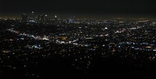 View from Griffith Observatory over Los Angeles at night.