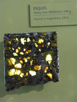 A beautiful piece of the Esquel Pallasite, showing off the translucent olivine crystals.