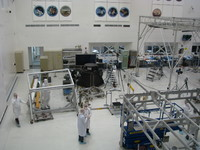 The famous JPL clean room, with insignias from past missions mounted to the wall. What struck me the most when comparing JPL's vs. SpaceX's clean room was that SpaceX's looked much more crammed and busy with parallel work on an assembly line of multiple spacecraft.