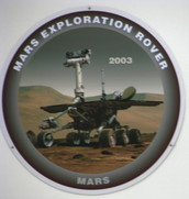 Close-up of the MER mission patch in the JPL clean room.