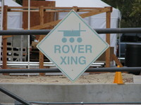 ROVER XING: A charming, and charmingly faded, sign near JPL's Mars Yard.