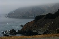 Foggy California shoreline.