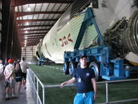 Me in front of the gigantic (110.6m long) Saturn V at JSC. That three Saturn Vs remain today is probably the best thing that came out of the premature cut of the Apollo program's funding.