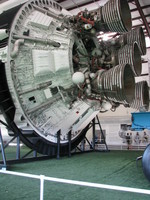 Five J-2 engines on the Saturn V's second stage, S-II. This one here is the very last S-II ever built, namely S-II-15.
