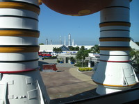 View out of the building that houses the Space Shuttle Atlantis. The life size mock-up of Space Shuttle solid rocket boosters (visible in the foreground) and external tank looks impressive from all directions.
