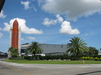 Outside view onto the Atlantis center with the solid rocket booster / external tank mock-up.