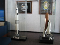 Saturn V and Space Shuttle models, a little nicer than the junk they're selling in the souvenir shop.