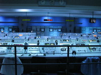 Inside the Apollo Saturn V center, a display for an Apollo era launch control room.
