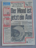 German BILD from 21 July 1969, titled The man in the moon is now an American, reminiscent of their Wir sind Papst! (We are pope!) on the election of German Cardinal Ratzinger as pope Benedict XVI in 2005.