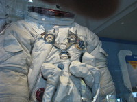 The space suit that Gene Cernan wore on the Moon during Apollo 17, with grey lunar dust still adhering to it.