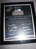 Like so many other places, the introverted Neil Armstrong's signature is missing here. For some reason, Michael Collins, who wrote one of my favourite Apollo books (Carrying the Fire) is missing too; however, Al Worden, who wrote the other great Apollo memory (Falling to Earth) is present.