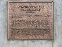 Memorial plaque on Launch Complex 34. This is also the site of an annual memorial service lead until 2014 (?) by Grissom (?)'s wife.