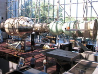 This awesome display of the Apollo-Soyuz test project includes the original testing (unflown) Apollo command & service modules from that mission. The real (flown) command module is at the California Science Center (see photo #005 above).