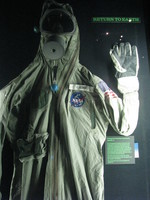 A Biological Isolation Garment (BIG) designed to prevent Earth's contamination with hypothetical lunal microbes after the early Moon landing missions (up to Apollo 14). This specimen was worn by Buzz Aldrin from Apollo 11's landing in the Pacific Ocean to his arrival in the mobile quarantine facility on board the USS Hornet.