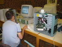 Jochen Eisinger is setting up the template contestant computer from which the partition images will be taken.