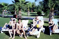 The german team spending some pleasant hours at the hotel's swimming pool. Why are they all so pale?