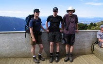 Us three hikers at Mt Luxmore Hut