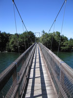 Swingbridge at Rainbow Reach, where most people finish the Kepler Track