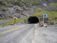 Homer tunnel near Milford, hardly wider than the average lane in New Zealand.