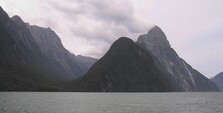 Mitre Peak, Milford Sound's icon, climbing steeply from the ocean floor right up to 1692m.