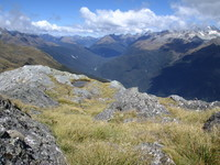 A little further to the left, still looking down into the Hollyford Valley