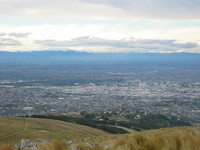 View over Christchurch, with mountains in the background.
