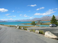 Lake Tekapo from a different perspective, with the church of the good shepherd on the small peninsula