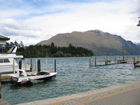 Queenstown, with one of the fast jetboats used for the shotover river cruise for tourists.