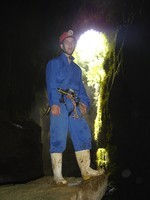 Me right after abseiling 100m down into the lost world cave - an exciting, but expensive adventure.