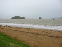 The normally beautiful Bay of Islands in foggy and rainy weather.