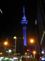 Skytower at night; it has three color schemes on a weekly cycle, with blue being the best.