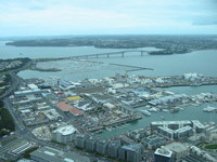 One of Auckland's yacht harbours, and the famous Harbour Bridge.