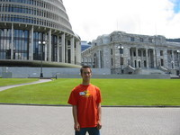 "Me in front of parliament. How many ""T""s can you find in this picture? Hint: Tobias Thierer in Tea Party T-Shirt with (parliament) T(our) sticker."