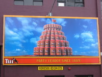 Beer advert imitating the shape of the Beehive.