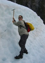 A misleading picture pretending that I can ice climb; in truth, the ice was quite horizontal right below my feet